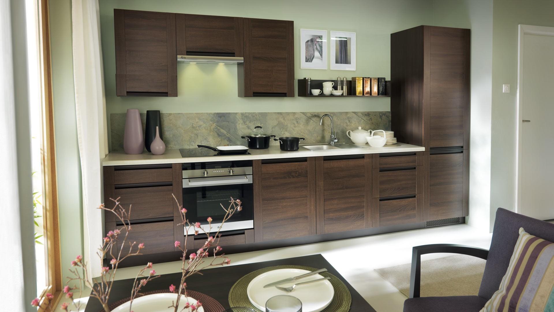 k che schr nke k chenzeile erweiterbar eiche sonoma. Black Bedroom Furniture Sets. Home Design Ideas