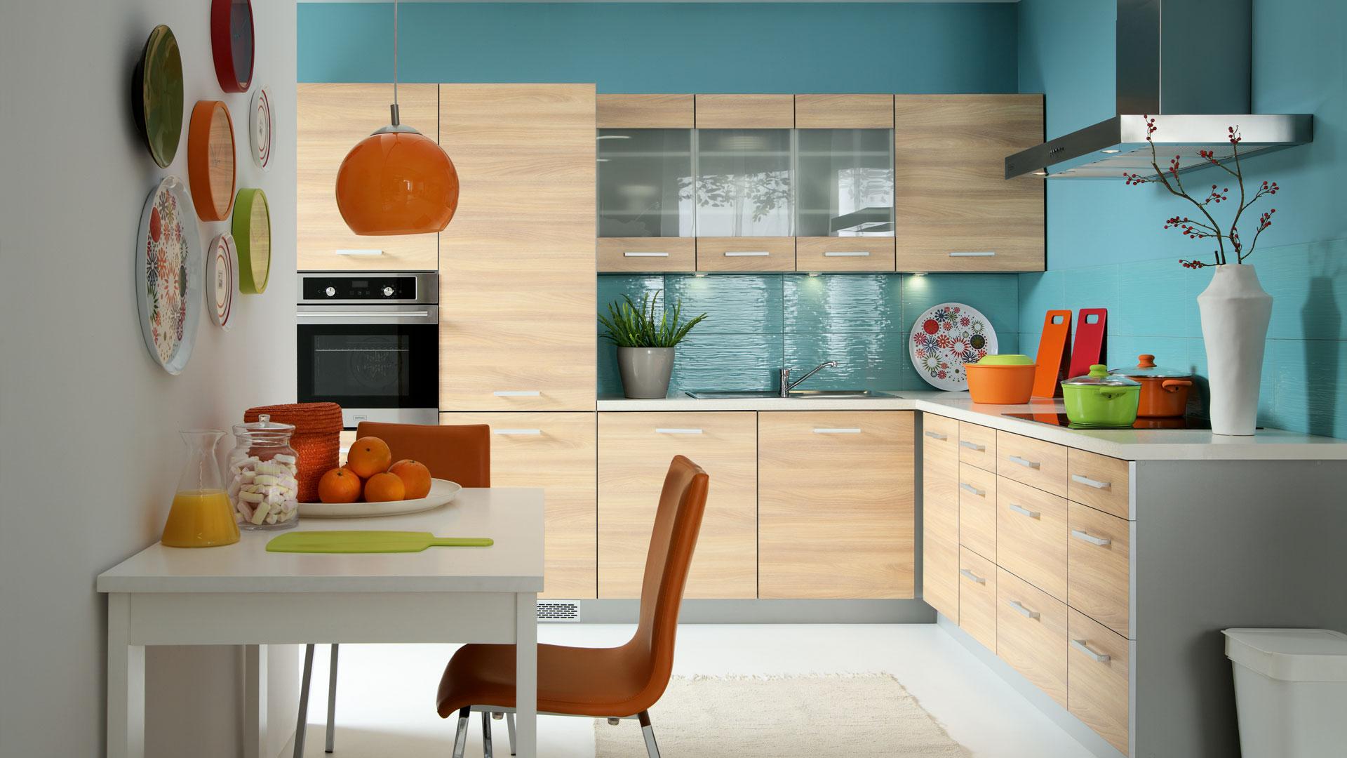 k che schr nke k chenzeile erweiterbar eiche creme fronten 2 neu schnell ebay. Black Bedroom Furniture Sets. Home Design Ideas