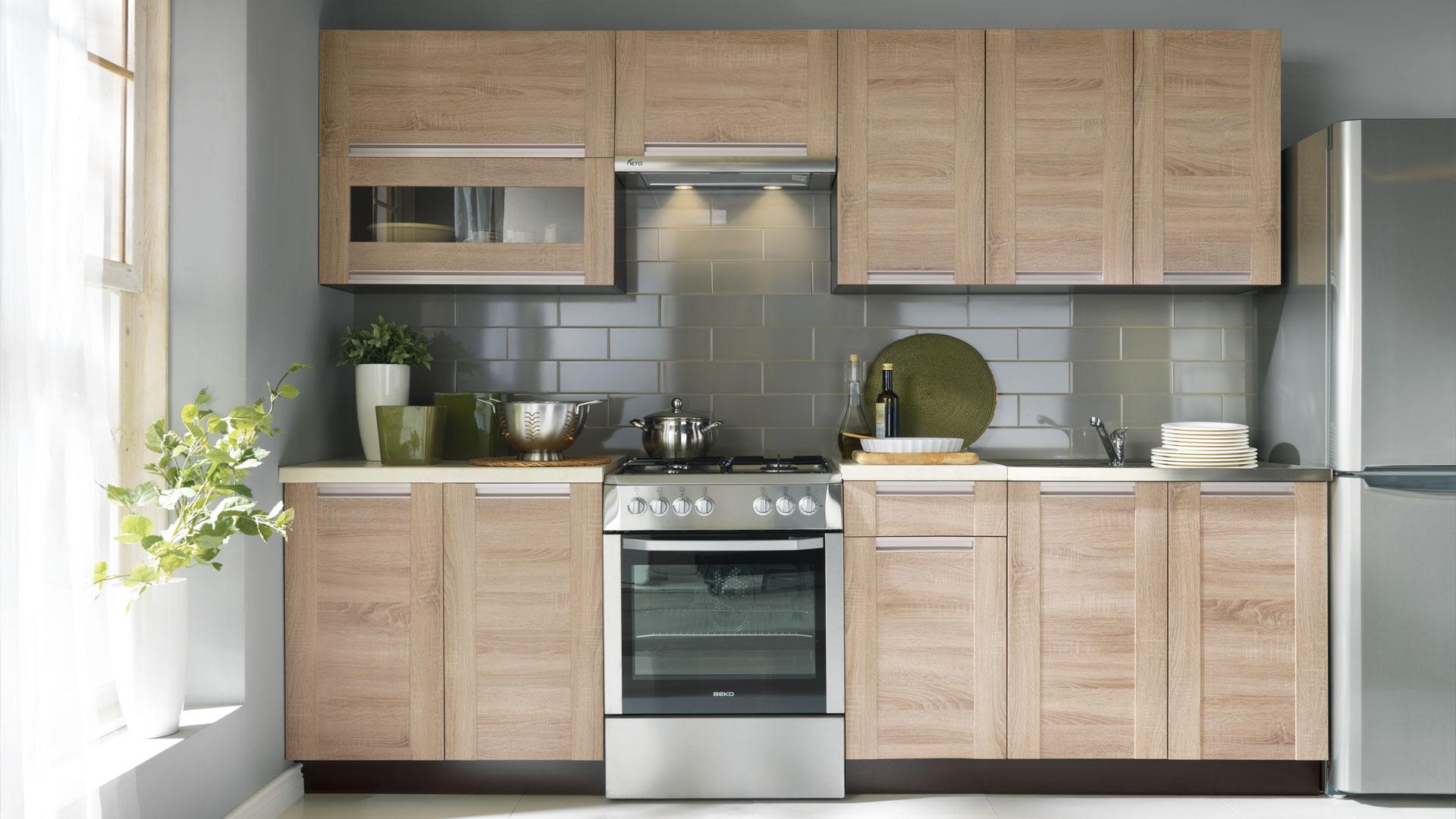 k che schr nke k chenzeile erweiterbar 260 cm eiche sonoma fronten neu schnell ebay. Black Bedroom Furniture Sets. Home Design Ideas