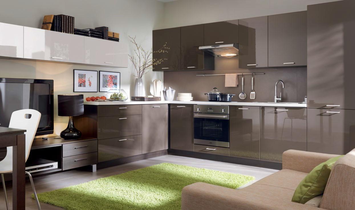 k che schr nke k chenzeile erweiterbar brauner glanz neu schnell ebay. Black Bedroom Furniture Sets. Home Design Ideas
