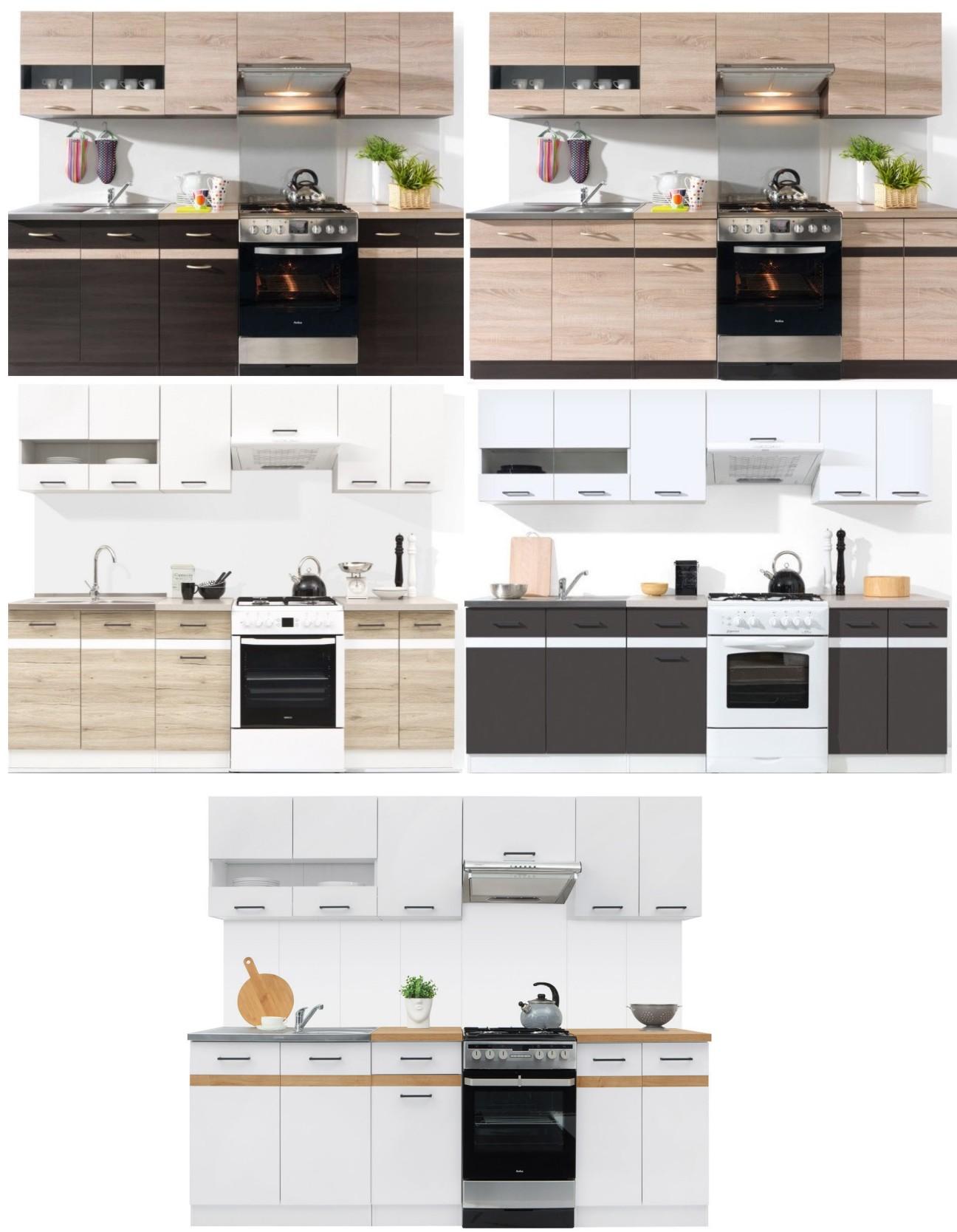 k che 240cm schr nke k chenzeile erweiterbar fronten ausw hlbar neu schnell ebay. Black Bedroom Furniture Sets. Home Design Ideas