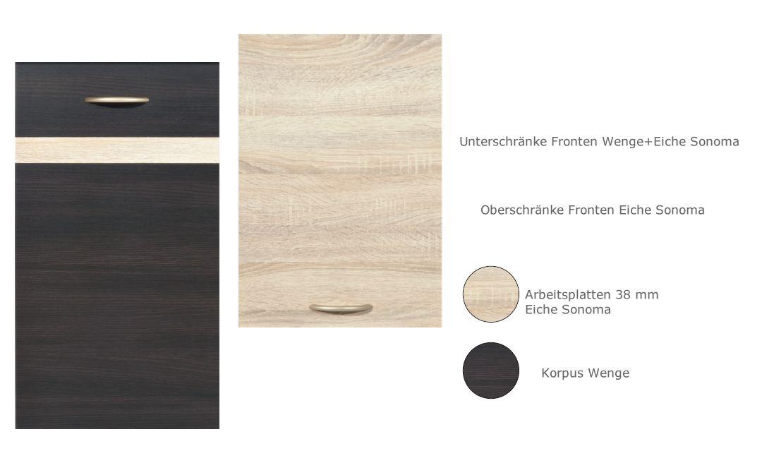 k che 280cm schr nke k chenzeile erweiterbar wenge eiche neu schnell ebay. Black Bedroom Furniture Sets. Home Design Ideas