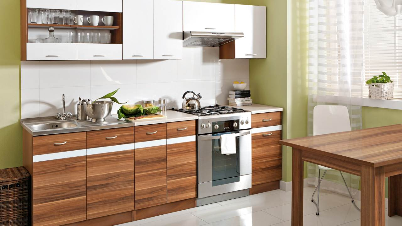 k che 240cm schr nke k chenzeile weiss glanz pflaume. Black Bedroom Furniture Sets. Home Design Ideas