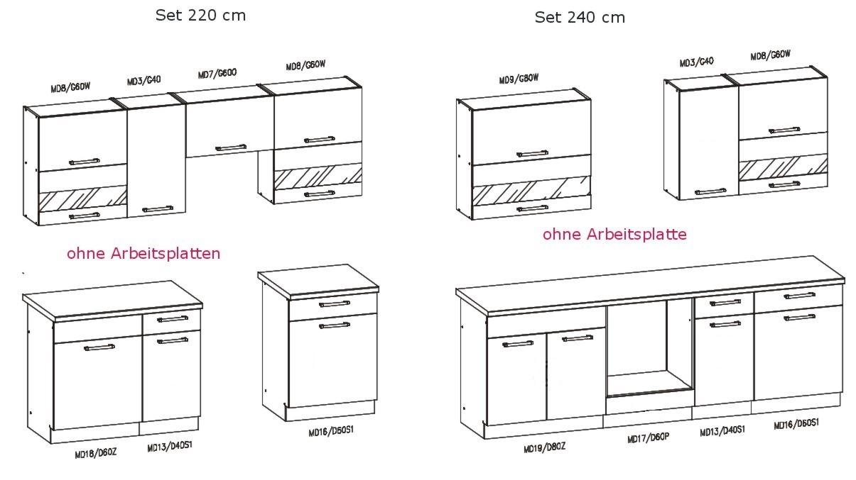 Küche 220 oder 240 Küchenzeile erweiterbar Fronten auswählbar Neu ...