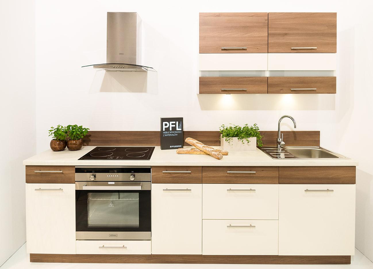 k che 240cm schr nke k chenzeile zimt akazie vanille glanz neu schnell ebay. Black Bedroom Furniture Sets. Home Design Ideas