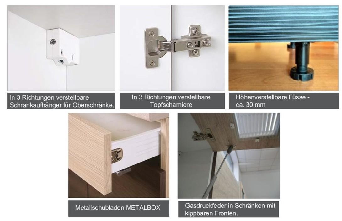 k che 240cm schr nke k chenzeile cocobolo vanille neu schnell ebay. Black Bedroom Furniture Sets. Home Design Ideas