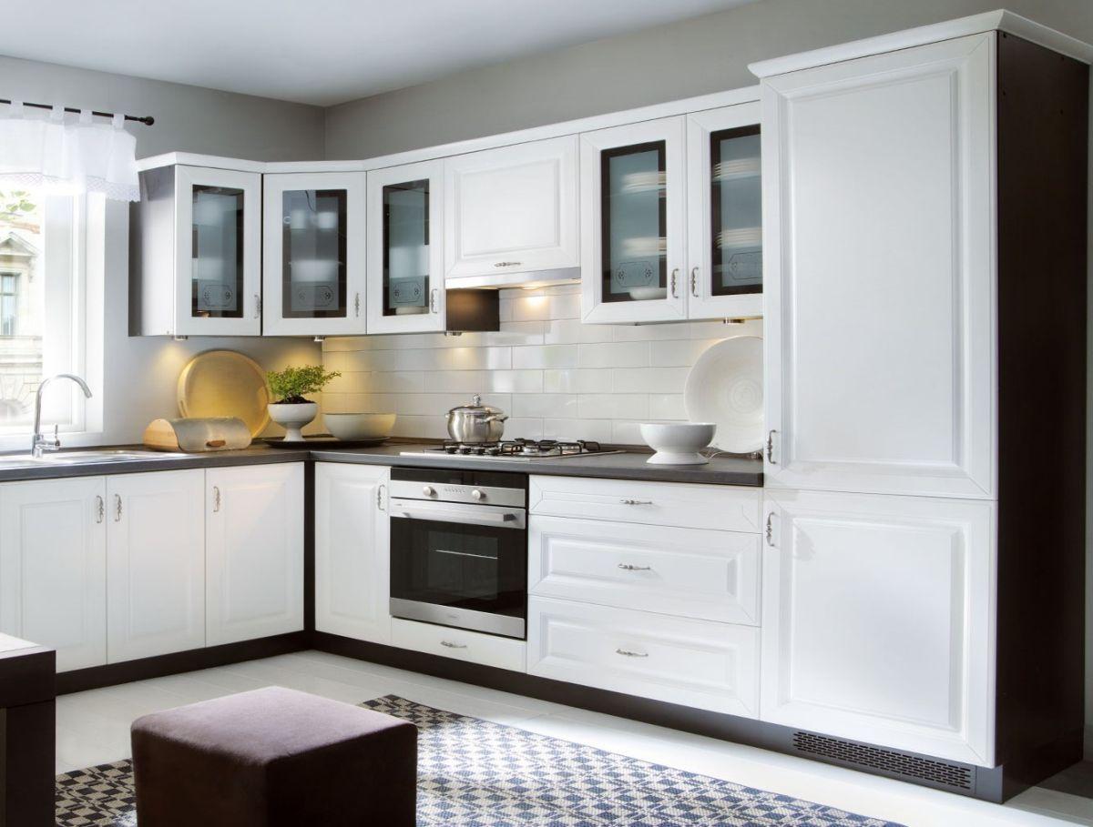 Klassische Küche, Schränke, Küchenzeile erweiterbar Canadian Weiss ...