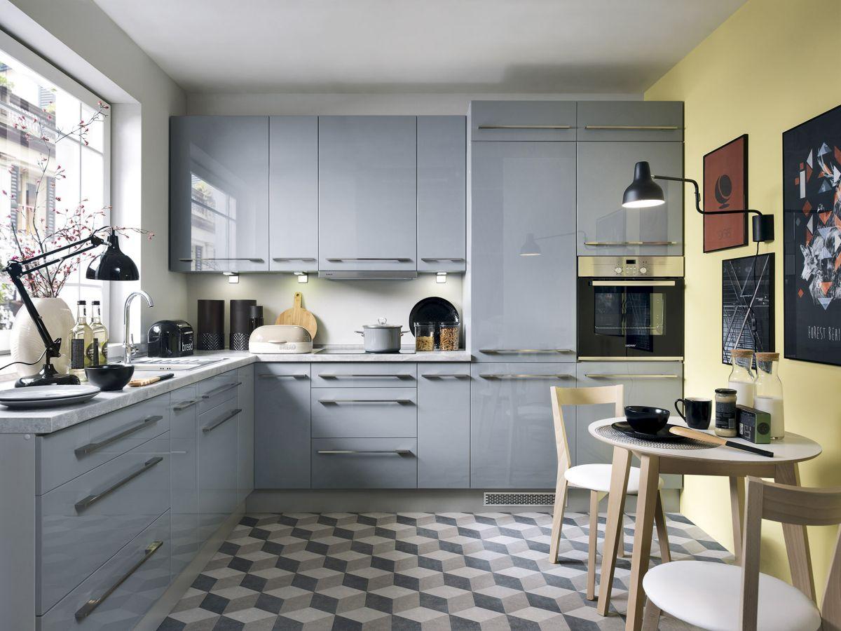 k che schr nke k chenzeile erweiterbar grau glanz fronten neu schnell ebay. Black Bedroom Furniture Sets. Home Design Ideas