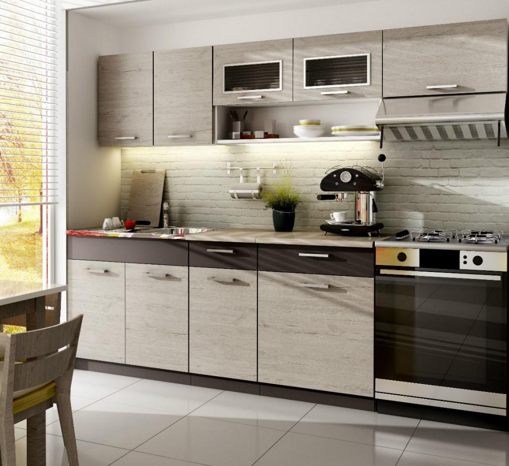 Küche 240cm Schränke, Küchenzeile erweiterbar Picard - Lava ...